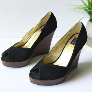 Dolce Vita Leather Wooden Wedges open toed Black 8
